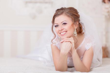 maquillaje de ojos: maquillaje de novia ceremonia de la boda el novio Foto de archivo