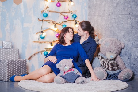 the anticipation: in anticipation of the baby pregnancy parents Stock Photo