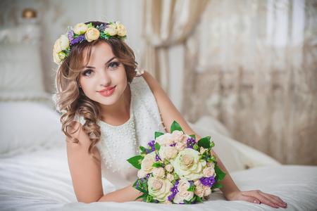 bridal makeup: wedding beautiful bride bridal bouquet