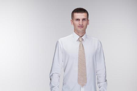 shirt and tie: white shirt tie man studio Stock Photo