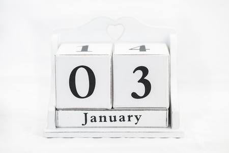 white wood: calendar january date white wood Stock Photo