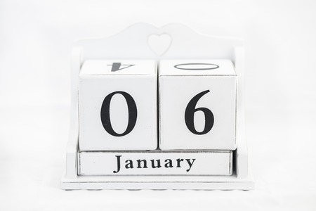 6th: calendar january date white wood Stock Photo
