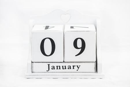 9th: calendar january date white wood Stock Photo