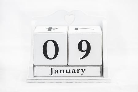 almanac: calendar january date white wood Stock Photo