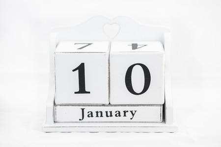 tenth: calendar january date white wood Stock Photo