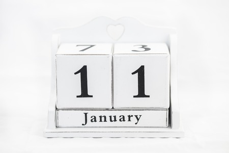 11 number: calendar january date white wood Stock Photo
