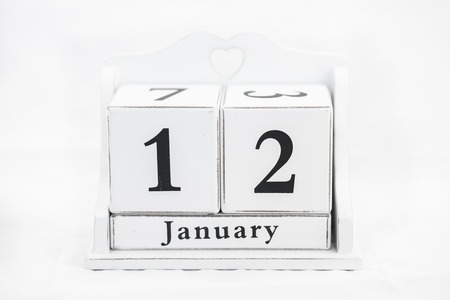 12 month old: calendar january date white wood Stock Photo