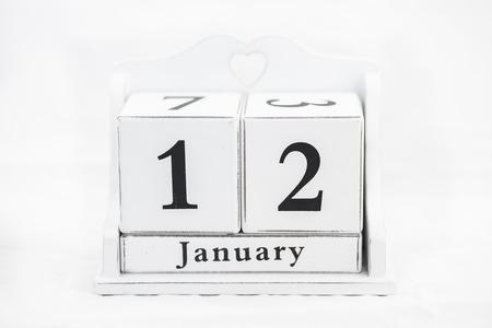 number twelve: calendar january date white wood Stock Photo