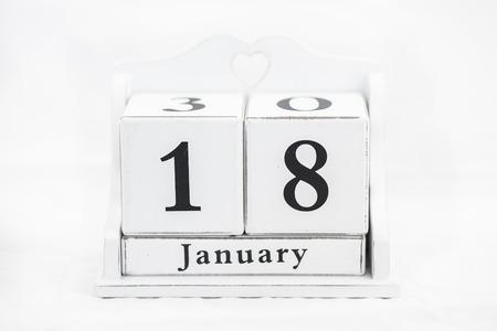 the january: Calendario de madera blanca Fecha enero