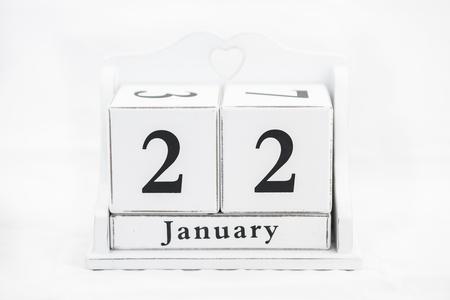 twenty second: calendar january date white wood Stock Photo