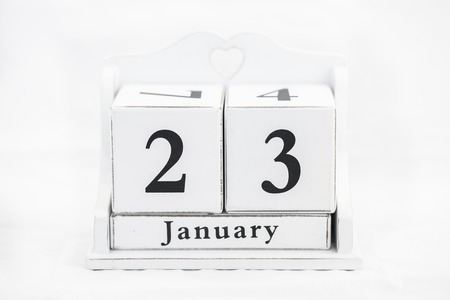 old diary: calendar january date white wood Stock Photo