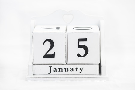 the twenty fifth: calendar january date white wood Stock Photo