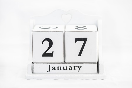 27 years old: calendar january date white wood Stock Photo