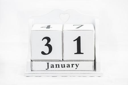 31th: calendar january date white wood Stock Photo