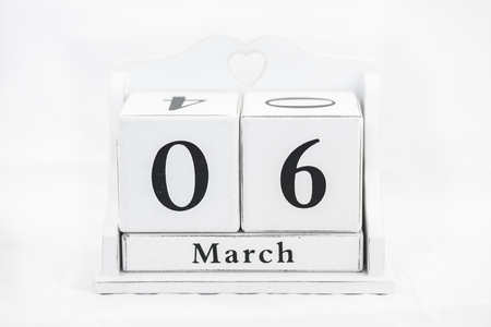 old diary: calendar march number cube white