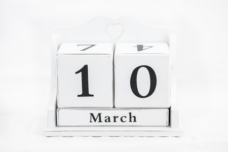 tenth: calendar march number cube white