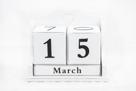 15 months old: calendar march number cube white