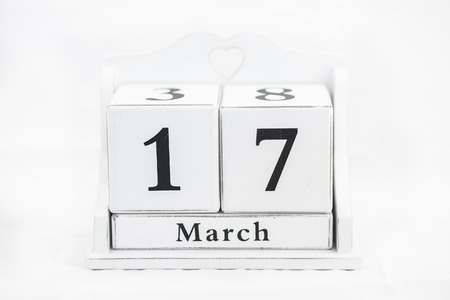 17th: calendar march number cube white