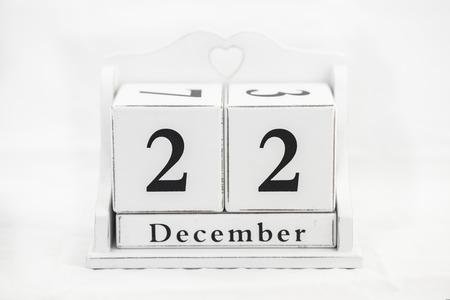 december: de diciembre del calendario fecha n�mero cubo Foto de archivo