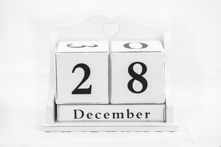 calendario diciembre: de diciembre del calendario fecha número cubo Foto de archivo