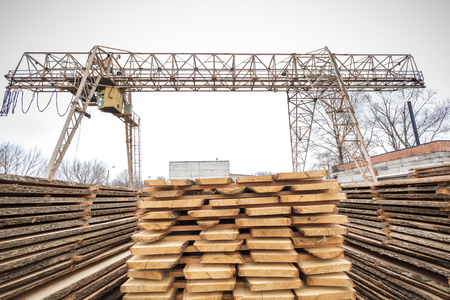 lumber industry: storage timber crane lumber industry