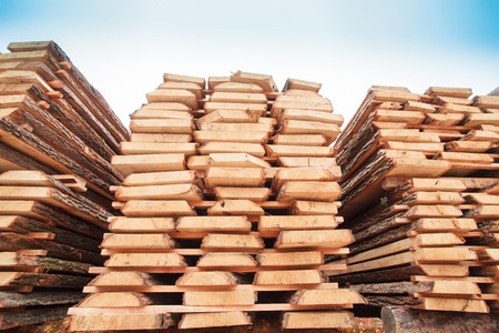 lumber industry: sawn timber wood lumber industry Stock Photo