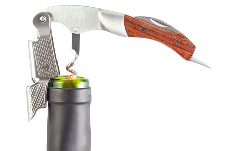 uncork wine metal opener knife white background
