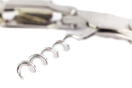 Corkscrew isolated on white with cork attached metall Stock Photo