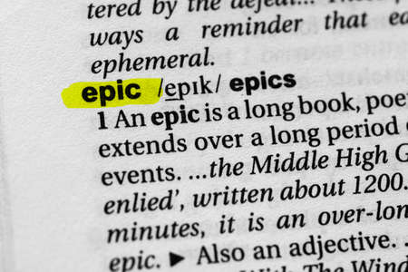 Highlighted word epic concept and meaning.