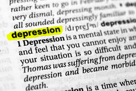 Highlighted word depression concept and meaning.