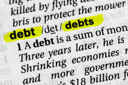 Highlighted word debt concept and meaning
