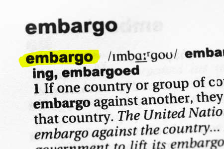 Highlighted word embargo concept and meaning.