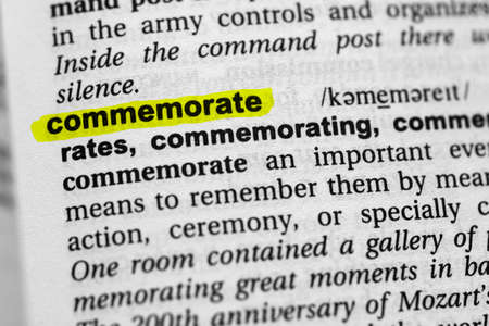 Highlighted word commemorate concept and meaning.