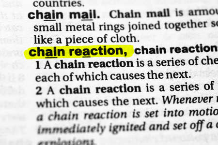 Highlighted word chain reaction concept and meaning.
