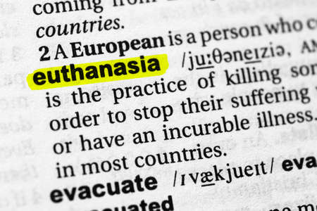 Highlighted word euthanasia concept and meaning.