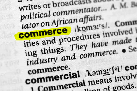 Highlighted word commerce concept and meaning.