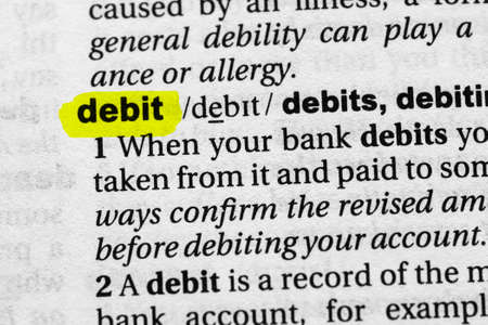 Highlighted word debit concept and meaning