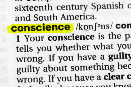 Highlighted word conscience concept and meaning
