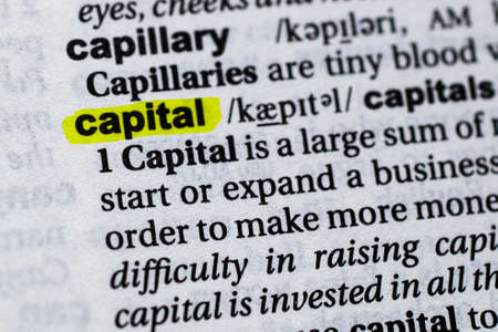 Highlighted word capital concept and meaning.