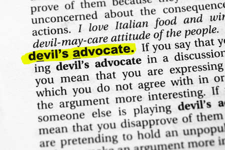 Highlighted word devil's advocate concept and meaning
