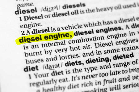 Highlighted word diesel engine concept and meaning