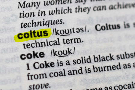 Highlighted word coitus concept and meaning. Stock fotó