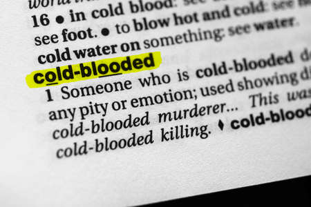 Highlighted word cold blooded concept and meaning Stock fotó