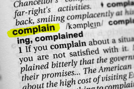 Highlighted word complain concept and meaning Stock fotó