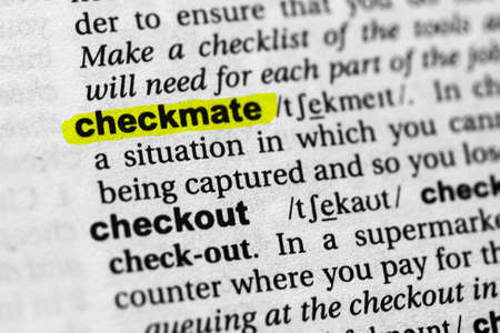 Highlighted word checkmate concept and meaning. Stock fotó