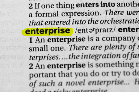 Highlighted word enterprise concept and meaning.