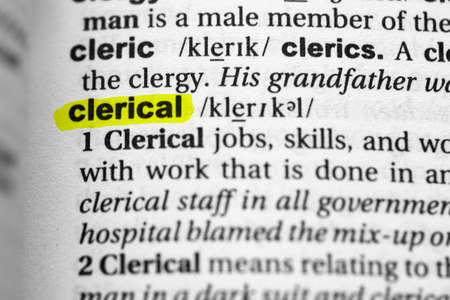 Highlighted word clerical concept and meaning. Stock fotó