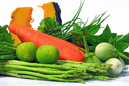 Many fresh vegetables on white background. Stock Photo
