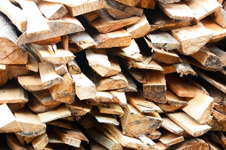 Pile of wood logs for build.