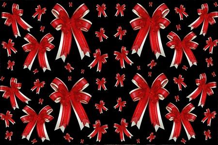 red ribbon satin gift bow Stock Photo - 8399893
